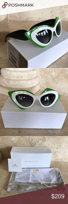 Linda Farrow sunglasses Linda Farrow parbal gurung cat Eye mask black white green PG17 sunglasses made in Japan Linda Farrow Accessories Sunglasses