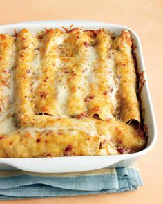 I have to try this. It is lighter on the ingredients in normal enchiladas, and all home made, so no artificial ingredients or preservatives. It also looks like it would freeze well.