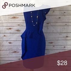 Blue Calvin Klein Dress Never worn beautiful blue Calvin Klein Dress.  Perfect for office or special event. Size 8 Calvin Klein Dresses