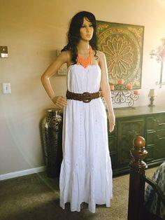Gap dress Sz L Strapless Adjustable empire waist Fully length belt included& n Gap Dress, Coach Purses, Empire, White Dress, Amp, Belt, Summer Dresses, Clothes For Women, Cloths