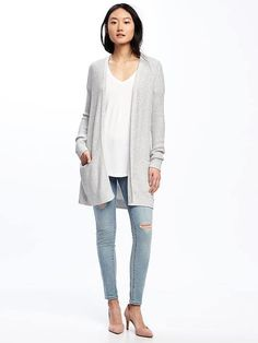 Long Textured Open-Front Cardi for Women - Old Navy