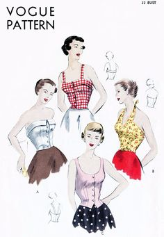 1950s FABULOUS Bare Top Bodices Halter Bustier Strapless Blouse Pattern VOGUE 6718 Daytime Beach Wear or Evening Tops Bust 32 Vintage Sewing Pattern