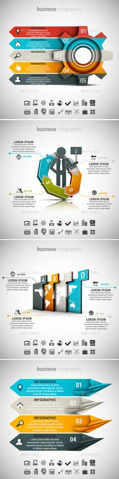 4 in 1 Business Infographics Template Bundle. Download here: http://graphicriver.net/item/4-in-1-business-infographics-bundle/15483467?ref=ksioks