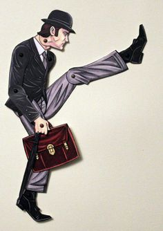 Ministry of Silly Walks John Cleese Articulated Paper Doll for Monty Python Lovers