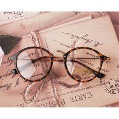 1920s Nerd Brille filigran rund Glasses Klarglas Hornbrille treber e1025 Leopard