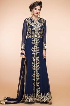 Navy Blue Georgette ready to wear anarkali churidar suit. Daman/hem and yoke embroidered with resham, cristal and embroidered work http://www.andaazfashion.com/salwar-kameez/anarkali-suits