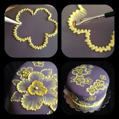 brush embroidery cake with yellow flowers Brush embroidery: a cake decorating technique that is so elegant, and so easy! You'll simply an already-covered cake, a paintbrush, and some thinned buttercream icing in an icing bag (the sma… Decoration Patisserie, Dessert Decoration, Cake Decorations, Flower Decorations, Cake Decorating Tips, Cookie Decorating, Cupcake Decorating Techniques, Decorating Supplies, Brush Embroidery Cake