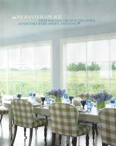 The June issue of Veranda magazine (on newsstands now) is filled with gorgeous photography of summery interiors, but the champion is this Southampton ocean side home. Country Interior Design, Blue Ceilings, Dining Room Design, Dining Rooms, French Country Decorating, Upholstered Dining Chairs, White Decor, Decoration, Beach House