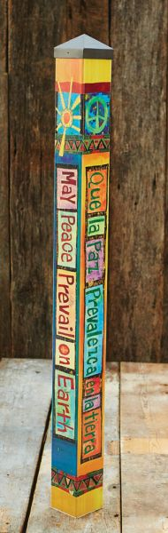$149.00 Painted Peace Collection Art poles are state-of-the-art reproductions of hand-painted and wood-burned cedar poles. The artwork is laminated onto a lightweight PVC pole for fade-resistance, durability, & reduced shipping cost. Easy to install. Hardware included. We have a huge collection of these poles on our website, check them out today! -Quirks of Art.