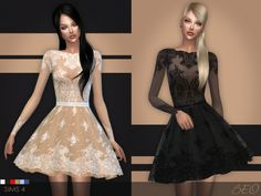 Lace short dress by BEO at BEO Creations via Sims 4 Updates