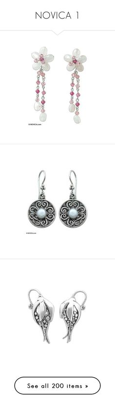 """NOVICA 1"" by shulabond on Polyvore featuring jewelry, earrings, crystal, waterfall, novica, dangle, pearl, drop, sterling silver and amethyst"