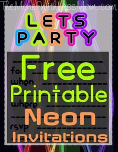 Free Printable Neon Invitations