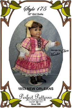 "Doll Clothes Pattern - Dress, Undersleeve - No. 175 - Fits 18"" American Girl Dolls"