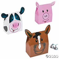 Fun Express - Farm Party Favor Boxes for Birthday - Party Supplies - Containers & Boxes - Paper Boxes - Birthday - 12 Pieces Petting Zoo Birthday Party, Cow Birthday, Farm Animal Birthday, Cowgirl Birthday, Birthday Parties, Happy Birthday, Farm Party Favors, Barnyard Party, Farm Party Games