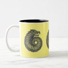 Mug AMMONITE black on butter Ocean Creatures, Celtic Designs, Ammonite, Fossil, Coffee Mugs, Butter, Ink, Black, Black People