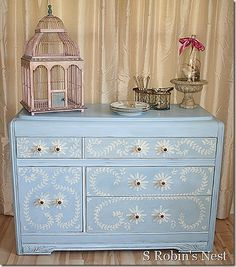 DIY hand painted blue buffet.  I think this would work in another color.