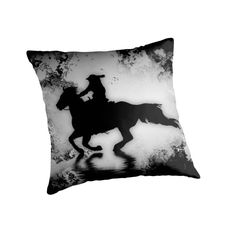 """""""Off to the Races"""" Galloping Horse and Rider by Val  Brackenridge throw pillow"""
