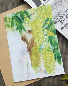 Prints of golden shower tree, postcards  #illustration #painting #watercolor #flowers #floral #goldenshowertree #flowerart #plantillustration #goldenshower #yellowflower #watercolorillustration #handpaintedillustration #blossom #plant #girl