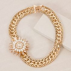 Jewelled Brooch Flat Chain Collar Necklace