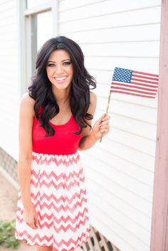 All American Girl Dress - Red Chevron from Closet Candy Boutique