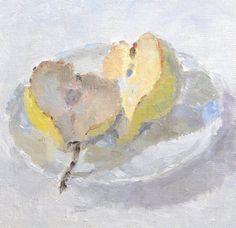 """Saatchi Art Artist: Lynne Cartlidge; Oil 2013 Painting """"Pear Halves"""""""