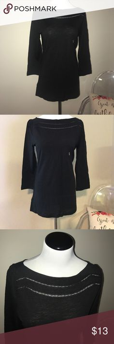 NWT Ann Taylor Loft 3/4 Length Sleeve Black Top + NWT Ann Taylor Loft 3/4 Length Sleeve Black Top + Super cute neckline with see through detailing on the front near the top + True to size | medium + Smoke free and pet free home 🏡 + NO TRADES 🚫  ✨ If you would like any additional photos or if you have any questions... please let me know! LOFT Tops