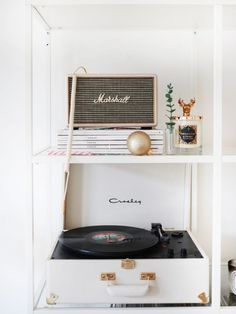 White Crosley record player with Marshall speaker