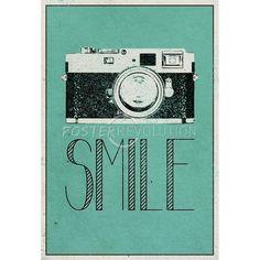 Smile Retro Camera Art Poster Print - 13x19