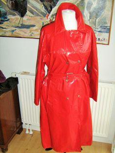Women Red Vinyl Raincoat Trench Coat Rain Cape Rubber Regenmantel Gummj Pvc. £180.00