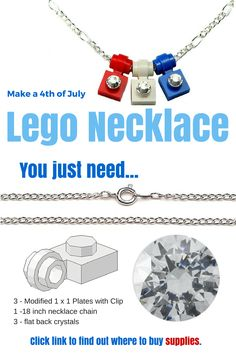 How to make a patriotic Lego necklace (or buy one that's already made from Amazon Prime for $10).  To make yourself you'll need three Modified 1 x 1 Plates with Clip Light – Thin Ring, some flatback rhinestones/crystals and an 18 inch necklace chain.  Click link to find out where to get the supplies. #legojewelry #patriotic