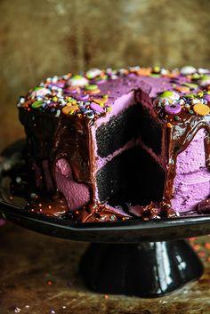 Black Velvet Halloween Cake- Gluten Free and Vegan from HeatherChristo.com