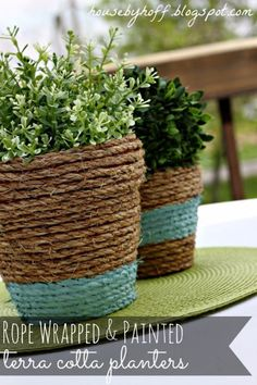 Best Country Decor Ideas for Your Porch - Rope Wrapped Painted Terra Cotta - Rustic Farmhouse Decor Tutorials and Easy Vintage Shabby Chic Home Decor for Kitchen, Living Room and Bathroom - Creative Country Crafts, Furniture, Patio Decor and Rustic Wall Art and Accessories to Make and Sell http://diyjoy.com/country-decor-ideas-porchs