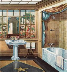1929 Crane Bathroom - Vintage Plumbing Fixtures - Modern American Bathroom - Tan, light blue, and black, with a painted mural Vintage Room, Vintage Decor, Vintage Furniture, Vintage Homes, Pipe Furniture, Art Deco Bathroom, Bathroom Mural, Bathroom Kids, Bathroom Cabinets