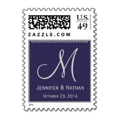 PRESIDENTIAL BLUE & SILVER Monogram Date Wedding Postage #wedding #stamps #love #marriage #romance #bride #groom #jaclinart #love #postage #presidential #blue #silver #monogram #date