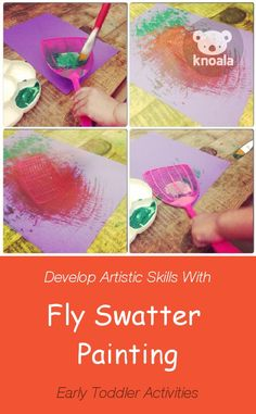 #Knoala Early Toddler activity 'Fly Swatter Painting' helps little ones develop Artistic, Cognitive, Motor and Language skills. Click for simple instructions & 1000s more fun, easy, no-prep activities for kids ages 0-5! #activities #DIY