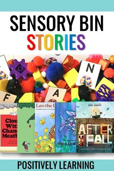 Sensory Bin Ideas. Add sensory play to your favorite read alouds! Included in each set: literacy task cards (mentor sentence, sight words, story vocabulary, alphabet) and math tasks (numbers 1-15, counting, and number bonds). Extensions and extras include sorting mat and theme set-up instructions! The growing bundle will have 36 titles - weekly books to last all school year! From Positively Learning #sensorybins #sensoryplay #autism #mentorsentences #readaloud #centers