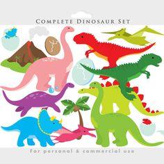 Dinosaur clipart - dinosaurs clip art, prehistoric, triceratops, t rex, tyrannosaurus rex, volcano, pterodactyl for invitations scrapbooking
