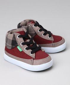 so fly wish i had a boy lol  Maroon & Gray Tartan Guerra Hi-Top Sneaker