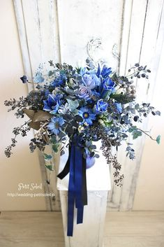 Navy Blue Wedding Theme, Wedding Colors, Bridal Flowers, Flower Bouquet Wedding, Bride Bouquets, Floral Bouquets, Dried Flowers, Blue Flowers, Blue Bouquet