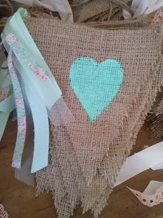 blue painted heart burlap bunting banner with shabby vintage rag so beautiful Burlap Crafts, Decor Crafts, Diy Crafts, Girl Shower, Baby Shower, Bridal Shower, Bunting Banner, Burlap Banners, Burlap Bunting