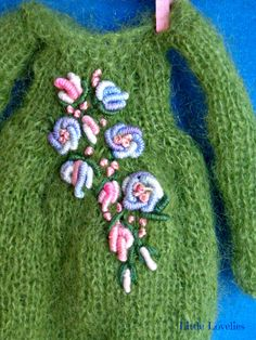 BLYTHE DOLL Dress - OOAK - Sweet knitted green mohair dress with vintage embroidery feature by LittleLovelieShop on Etsy