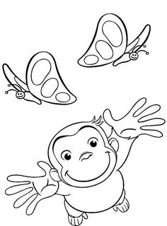 curious george coloring pages playing with butterflies