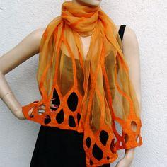 Felted Nuno Long Scarf merino wool silk Handmade by FeltDress, $74.00