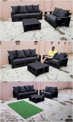Amazing 16 DIY Indoor Pallet Couch Ideas Arrange a DIY pallet sofa set in your living room and invite some friends for a brunch. Make a two or three seats sofa and decorate . Pallet Furniture Designs, Pallet Garden Furniture, Diy Furniture, Furniture Online, Diy Pallet Couch, Diy Sofa, Pallet Couch Outdoor, Pallet Benches, Pallet Tables