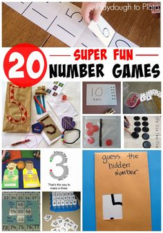 20 Super Fun Number Games for kids. Great ways to teach kids number recognition, number concept and number writing. Number Games For Kids, Numbers For Kids, Numbers Preschool, Math For Kids, Fun Math, Preschool Activities, Number Activities, Math Games, Multiplication Games