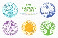 Ad: Five Elements of Life - Vector Set by VecRas on SKU: DE 5 high quality Scribble Style freehand vector design elements of life air, (Vayu) fire (Agni) , water (Jala) , sky Element Tattoo, 5 Elements Of Nature, Design Elements, Magia Elemental, Perfect Curves, Fifth Element, Creative Sketches, Paint Markers, Pencil Illustration