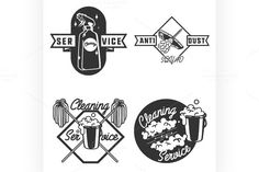Vintage cleaning service emblems. Clothes Icons. $7.00