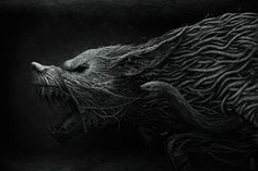 Creepy Illustrations by Anton Semenov, Fantasy creatures Wolf Wallpaper, Black Wallpaper, Mobile Wallpaper, 1920x1200 Wallpaper, Animal Wallpaper, Computer Wallpaper, Pc Computer, Wallpaper Ideas, 3d Fantasy