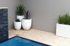 Simple grouping of planters softens a paved pool @Urban Balcony #Urbanbalcony