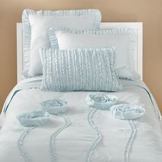 Kids' Bedding: Kids Light Blue Floral Appliqued Rose Bedding in Girl Bedding